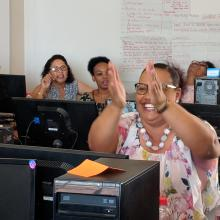 Librarians learning internet and e-resources skills during a workshop in Namibia.