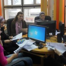 Young people learn ICT and media skills in Zavidovici Public Library's innovative youth corner.