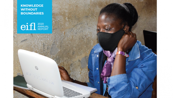 Cover 2020 Annual Report showing a young woman wearing a COVID-19 protective mask using computer in a Ugandan village library.