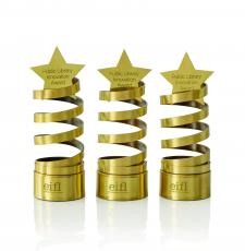 the award trophy - a golden spiral with a star on top