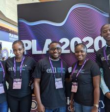 The five young library innovators, from left - Daisy Ashabahebwa (Uganda), Sarah Nyaboke Ogembo (Kenya), Dominic Bwalya Chitondo (Zambia), Letta Shivute (Namibia) and Yusuf Ganyana (Kenya).