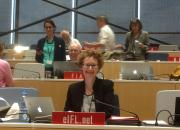 Teresa Hackett at the SCCR meeting hall Geneva.