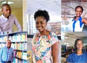The five young library innovators, from top left - Yusuf Ganyana, Kenya; centre panel, Letta Shivute, Namibia; Sarah Nyaboke Ogembo, Kenya. Bottom row, from left, Dominic Bwalya Chitondo, Zambia, and Daisy Ashabahebwa, Uganda.