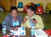 Learning together - two of the 25 public librarians from Addis Ababa who attended the first EIFL-PLIP workshop in July 2015.