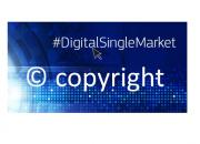 EU copyright reform logo, blue backgroud and white text that sayshashtag digital single market, and copyright with the C copyright symbol.