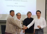 MERAL Portal signing ceremony: from left, Dr Nay Win Oo, Deputy Director General, Department of Higher Education, Dr Zaw Wai Soe, Chair,  Myanmar Rectors' Committee, Rima Kupryte, EIFL, Dr Kazutsuna Yamaji, of the National Institute of Informatics, Japan.