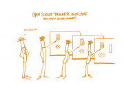 Cartoon showing open science training bootcamp.