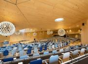 View of the (empty) WIPO Conference Hall, looking at the stage.