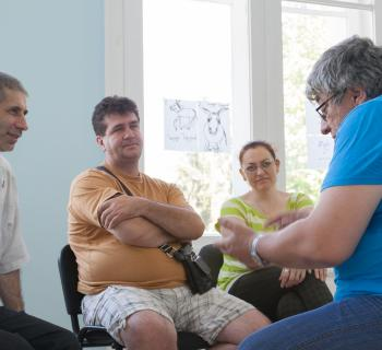 Successful job-seeker Anatolij Parishkov role-plays a job interview with other jobseekers aged over 40 in 'Lyuben Karavelov' Regional Library in Bulgaria.