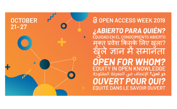 OA Week 2019 poster, advertising the theme, Open for Whom?