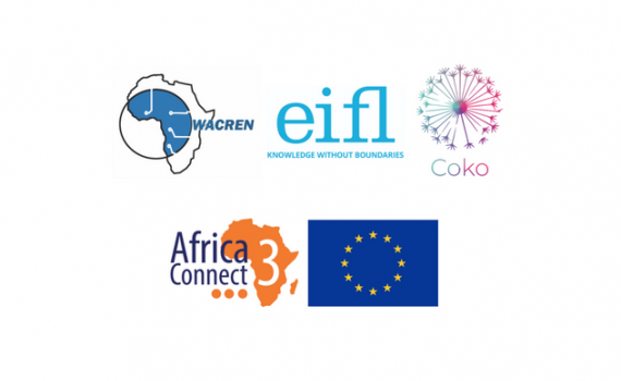 Logos of WACREN. EIFL, Coko Foundation and Libsense