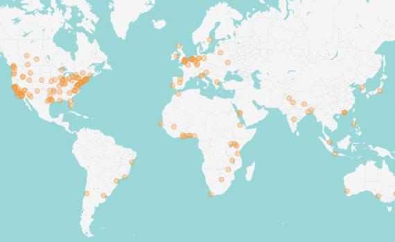 Map of the world showing extent of participation in FSCI 2021, by marking 49 countries where registrants come from.