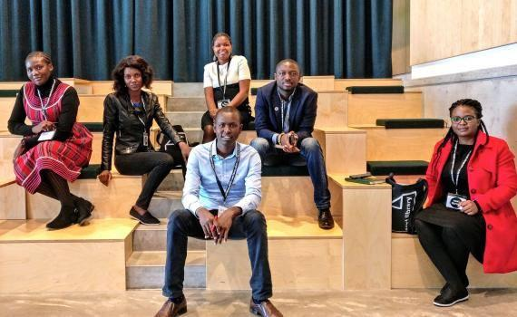 The six young African library innovators in the Dokk1 conference hall: back row, from left - Claret Misika (Namibia), Constance Chilipa (Zambia), Jemmimah Maragwa (Kenya), Hayford Siaw (Ghana). Seated, in front, Kennedy Rutoh (Kenya), Mary Mamba (Zambia).
