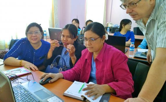 A group of librarians attending EIFL OA training at the University of  Mandalay.