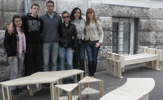 Young carpentry students sold the products they made in class and saved the income for a class excursion.