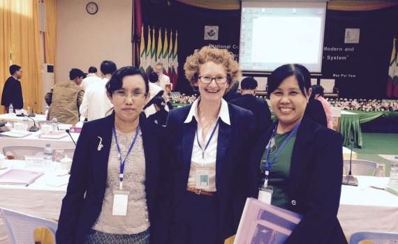 EIFL-IP Manager Teresa Hackett, centre, with Daw Myat Sann Nyein, EIFL coordinator in Yangon, left, and Dr Kay Thi Htwe, Director, National Library Nay Pyi Taw, Myanmar.